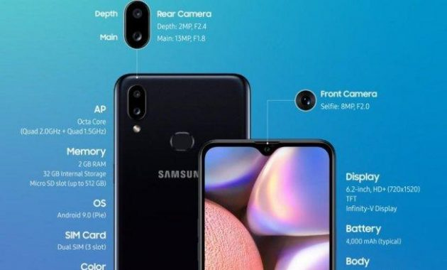 Price of Samsung a10s Complete with Specifications